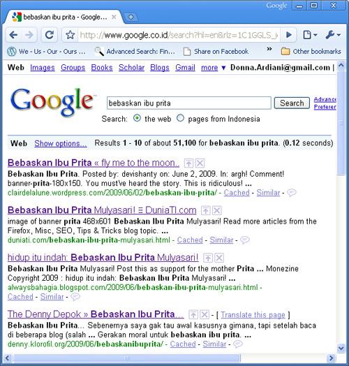 """Hasil Googling """"Bebaskan Ibu Prita"""""""